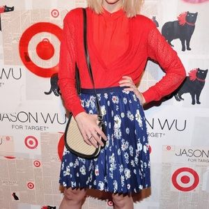 jason wu for target • pleated navy floral skirt